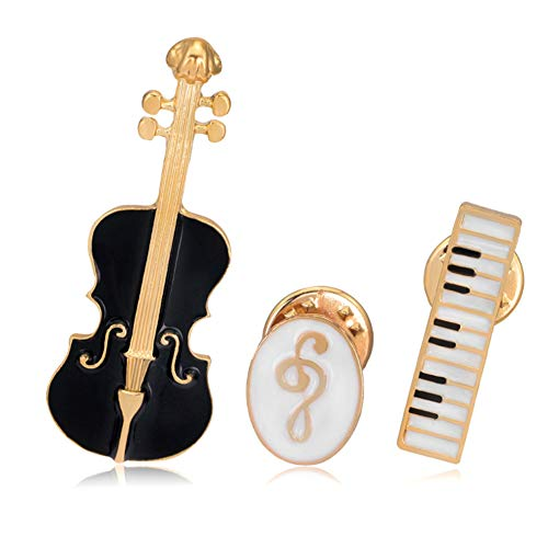 Apol Elegant Enamel Music Themed Brooch Pins,Set 3 Pcs Includes Violin Piano Keyboard Music Note Brooch for Clothes Dress Scarf Bags Decoration