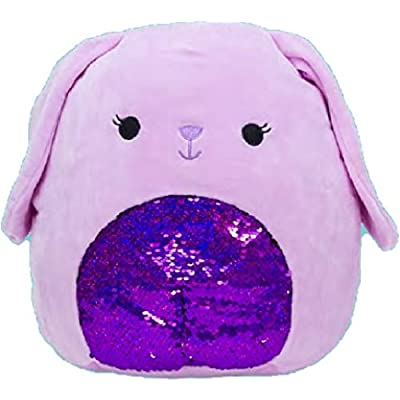"Squishmallow Kellytoy 16"" Easter Collection Plush Doll (16"" Bubbles Purple Bunny Sequin): Toys & Games"