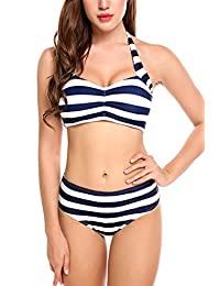 Avidlove Women Push up Bikini Set Stripped Swimsuits Two Pieces Swimwear