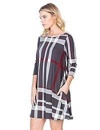 12TREES vestido de túnica casual con mangas 3 4 y bolsillo lateral en A, ajuste holgado y cómodo