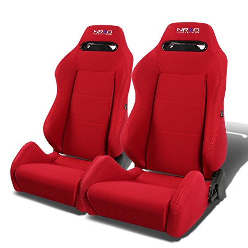 NRG RSC-200-NRG Type-R Universal Racing Seats With Red Stich & NRG Logo Set of 2 - Car Seats Racing