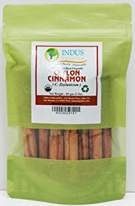 "Indus Organics Real (Sri Lanka) Cinnamon 3"" Sticks, 3 Oz Bag, Premium Grade, Hand Selected, Freshly Packed"