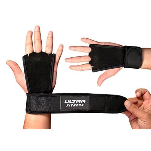 Ultra Fitness® Gants de musculation en cuir avec protection de la paume et du poignet à serrage Velcro