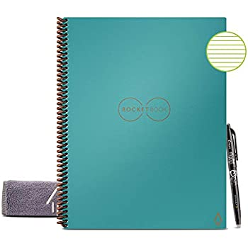 "Rocketbook Smart Reusable Notebook - Lined Eco-Friendly Notebook with 1 Pilot Frixion Pen & 1 Microfiber Cloth Included - Neptune Teal Cover, Letter Size (8.5"" x 11"")"