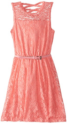 Dream Star Big Girls' Fully Lined Lace Dress with Belt and X Back, Coral, Large
