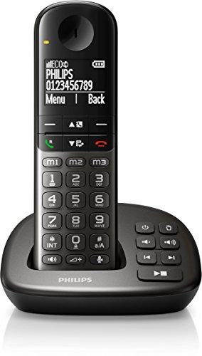 Philips XL4951DS/38 schnurloses Telefon mit Anrufbeantworter (4,8 cm (1,9 Zoll) Display, HQ-Sound, Mobilteil mit Freisprecheinrichtung) schwarz