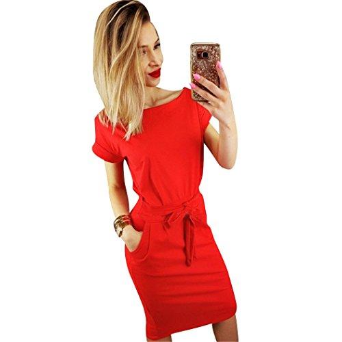 Colore Manica shirt Vestito Estate Con T Girocollo Sottile Cocktail Pzj Dress Sexy Rosso VestitiCasual Da Corta Donna Tasca Puro kXZiuP