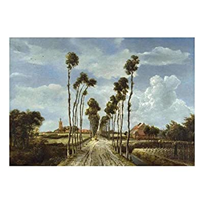 Created Just For You, Charming Portrait, The Avenue at Middleharnis by Meindert Hobbema Dutch Golden Age Painter Landscape Peel and Stick Large Wall Mural Removable Wallpaper