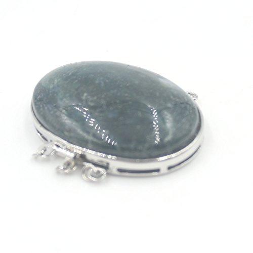 - SR BGSJ 30x40mm Oval Moss Agate Gemstone Beads Gold Plated Jewelry Making 3- Strand Box Clasp 1 Piece