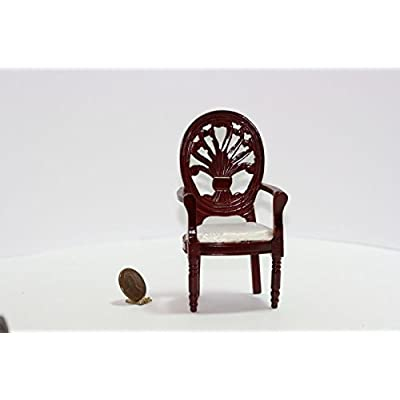 Dollhouse Miniature Mahogany Arts and Crafts Hand Carved Arm Chair in White Damask: Toys & Games