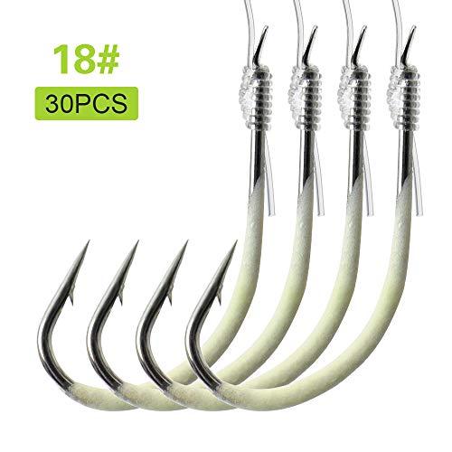 Walmeck- 12-28# Luminous Fishing Hooks with Line Barbed Hooks Fishing Tackle Accessories Steel Fishing Hooks