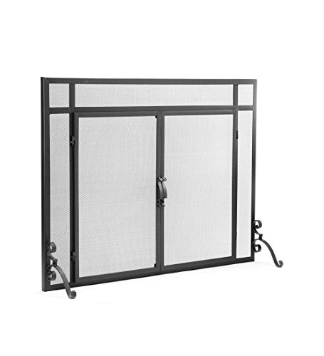 Coat Back Powder - Plow & Hearth Large Flatguard Fireplace Screen with Doors, Handcrafted Solid Steel, Heavy Duty Metal Mesh, Adjustable Feet, Black Powder Coat Finish, Free Standing Spark Guard, 44 W x 33 H