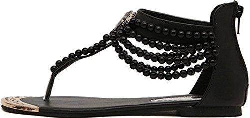 Sandal Kvinners Perle Romersk Flat Stil Sort Imitasjon Laruise YvB6xnB