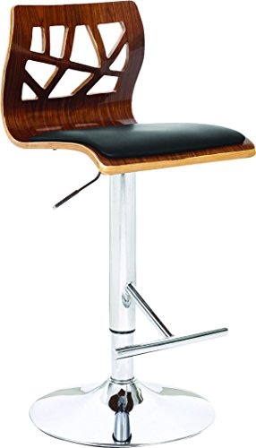 Creative Images International Modern Collection PU Leather Height Adjustable Swivel Bar Stool with Walnut Wood Cut-Out Back and Gas Lift, Black ()