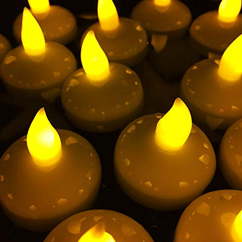 (AceList Floating Candles Set of 24 Pond lights Flameless Tea Light Candles - Yellow - Decorative Wedding Birthday Valentine Party Decoration)
