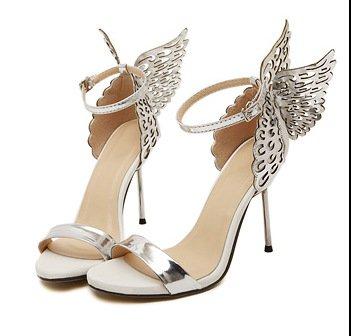 à Ailes Sandales 39 brillant des avec talons hauts Chaussures avec hauts fines Sandales Fine Argent talons wqPXvnxZZ