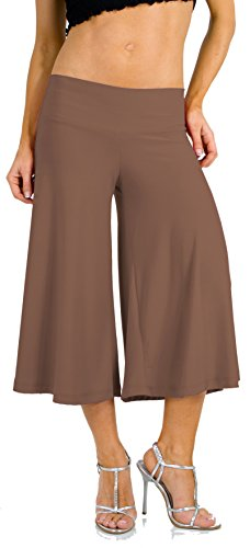 Stretch Gaucho Pants with Banded Waist from Hot Fash Pants - SALEEN (Large, Mushroom) ()