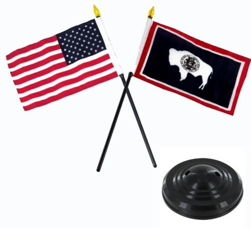 Wyoming USA America American Flag 4''x6'' Desk Set Table Stick Black Base BEST Garden Outdor Decor polyester material FLAG PREMIUM Vivid Color and UV Fade Resistant (Flag Wyoming Indoor)