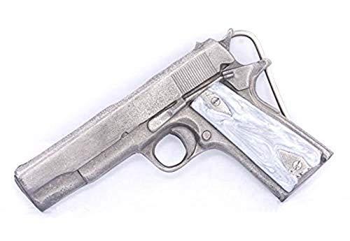 (Automatic HAND GUN Pewter Gun Belt Buckle)