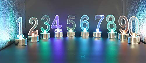 0-9 Molded Number Battery Operated LED Candle Set,