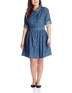 B00R7EGTHU She's Cool Junior's Plus-Size Button Down Shirt Dress with Roll Tab Sleeves, Medium Wash, 3X