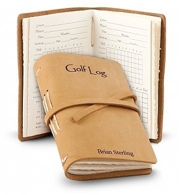 GiftTree Leather Bound Golf Log - 48 Page Genuine Leather Golfing Log Book to Track 48 Games - Monogram up to 15 Characters -Personalized Golf Gifts