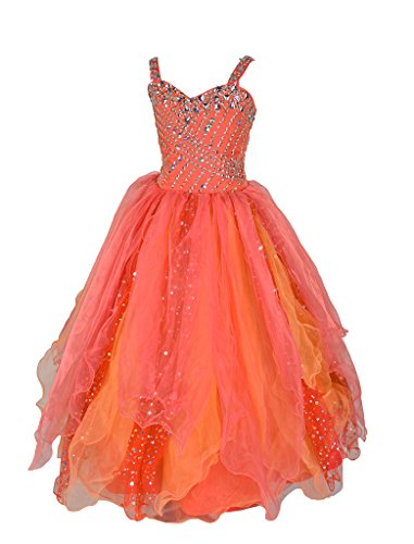 GreenBloom Cascaded Ruffles Crystals Formal Girls Pageant Dresses 4 US Orange
