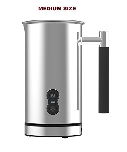 CAFE CASA Premium Stainless Steel Electric Milk Frother: Dual Function - Foams milk and also can warm milk for Lattes and Cappuccinos
