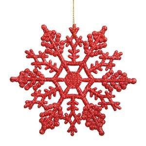 Vickerman Plastic Glitter Snowflake, 6.25-Inch, Red, 12 Per Box -