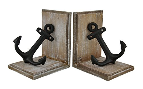 Zeckos Wood and Cast Iron Nautical Anchor Decorative Bookend Set of 2