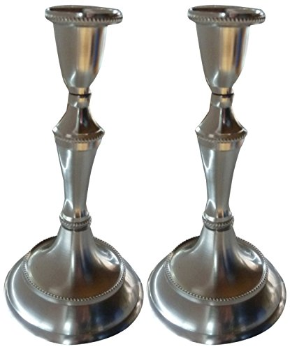 Pewter Holder (Biedermann & Sons Taper Candle Holder, Set of 2, Pewter Finish, 6.5 Inches Tall)