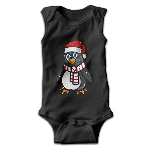 Dunpaiaa Penguini Newborn Crawling Suit Sleeveless Romper Bodysuit Onesies Jumpsuit Black