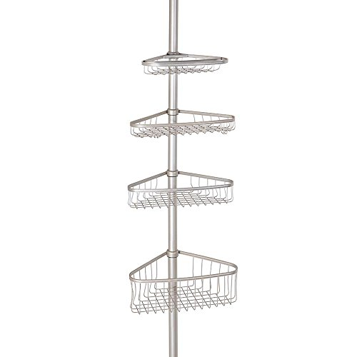 Nickel Shower Caddy (InterDesign York Constant Tension Corner Shower Caddy – Bathroom Storage Shelves for Shampoo, Conditioner, Soap and Razors, Satin)