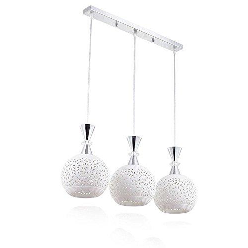 Lampe à suspension Vintage 3 ampoules Lustre design moderne E27 Céramique Max 40 W Lampe de salle à hommeger Blanc (Ampoules non comprises)