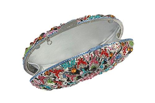 Brillantes Colores Yilongsheng Crystal Dispersión De Con Noche Monederos Oval Multicolor Señoras Plata Floral Diamantes tqwrIt