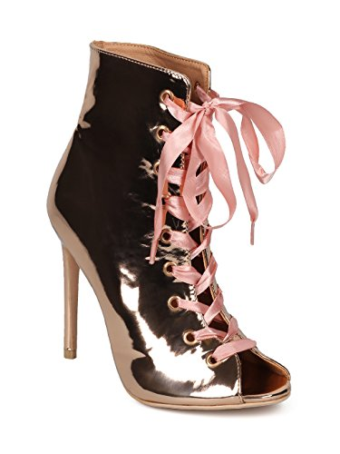 Indulge Brooklyn-1A Women Peep Toe Ribbon Lace Up Stiletto Ankle Boot HE14 - Rose Gold Metallic (Size: 6.0)