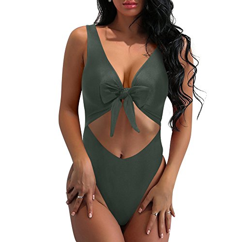 - SARA SWIM Women's Tie Front Cut Out One Piece Swimsuit Beachwear High Leg Bottom (XL, Olive)