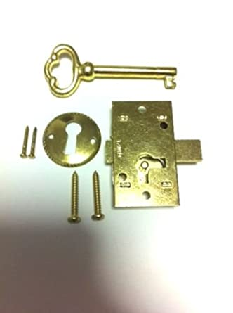 l 1b brass plated steel flush mount cabinet door lock skeleton key