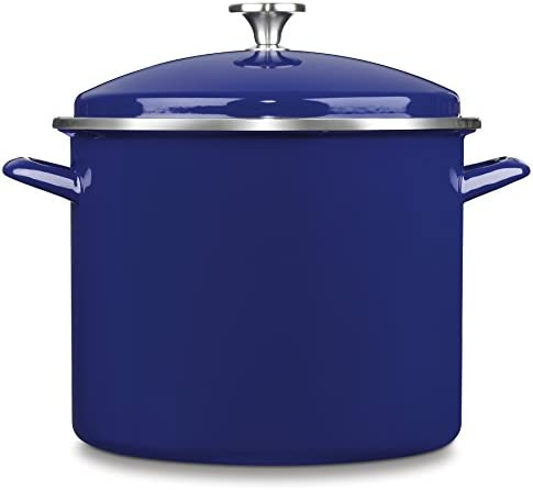 Cuisinart EOS126-28CBL Chef s Classic Enamel on Steel Stockpot with Cover, 12-Quart, Cobalt Blue