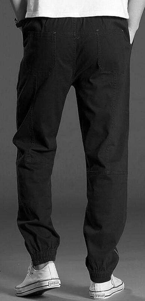 Pivaconis Mens Relaxed Fit Straight Leg Harem Pants Jogger Pants Plus Size Elastic Waist Lounge Pants Trousers
