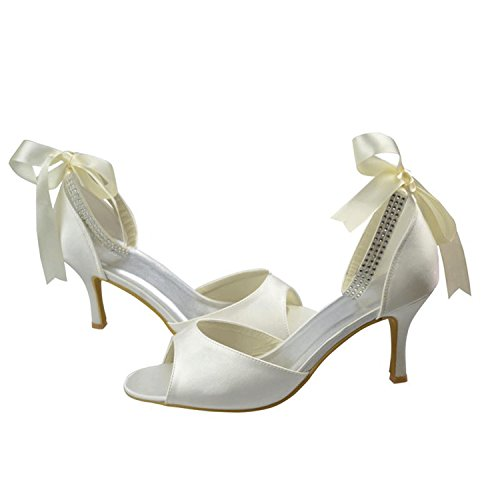 Prom Ivory Evening Ribbon Satin Kevin Formal Party Bridal Fashion Wedding Women's MZ1220 Sandals 7nvqA
