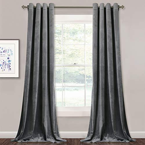StangH Grey Velvet Curtains for Living Room - 96 inches Long Light Blocking Velvet Curtain Panels Privacy Grommet Window Drapes for Bedroom/Sliding Glass Door, W52 by L96 inches, 2 Panels