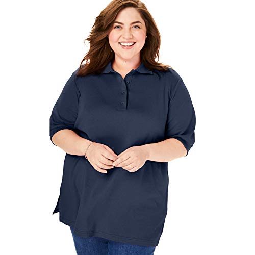 (Woman Within Women's Plus Size Short Sleeve Polo Tunic Shirt - Navy, 1X)