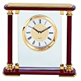 Mantel Quartz Alarm Clock in Piano Rosewood Finish and with Solid Brass Trim