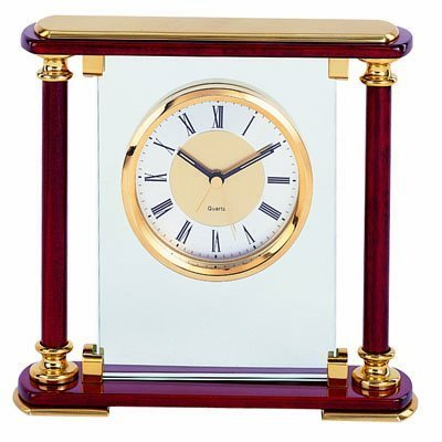 Piano Wood Desk Clock (Mantel Quartz Alarm Clock in Piano Rosewood Finish and with Solid Brass Trim)