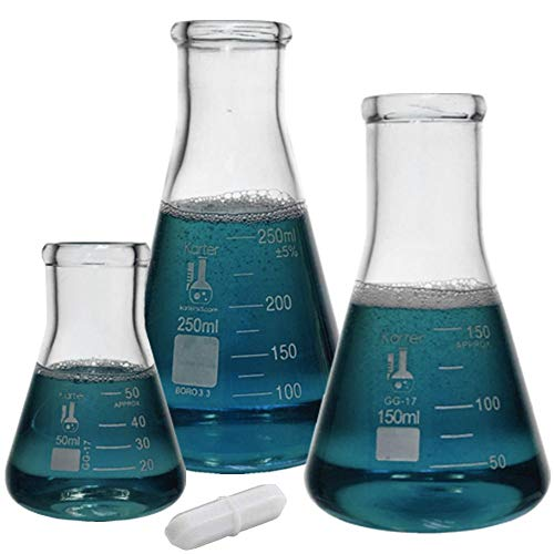 Glass Erlenmeyer Flask Set with Magnetic Stir Bar - 3 Sizes - 50, 150 and 250ml, 3.3 Borosilicate Glass, Karter Scientific 214U7