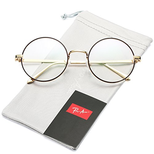 Pro Acme Retro Round Metal Frame Clear Lens Glasses Non-Prescription (Gold Line Frame/Clear - Clear Glasses Round
