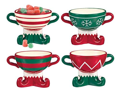 Elf Patterned Bottoms 4 x 5.5 Inch Ceramic Footed Bowls Assorted Set of 4