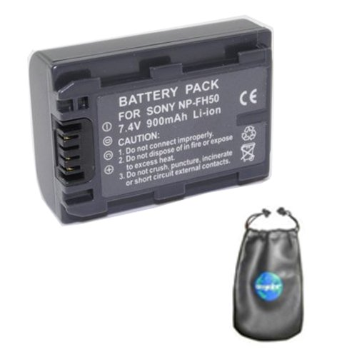 Digital Replacement Camera and Camcorder Battery for Sony NP-FH50, DCR-DVD103 - Includes Lens Pouch by Amsahr