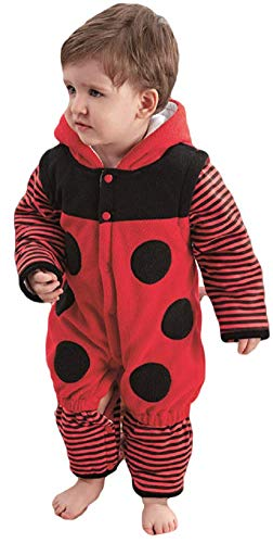 Baby Girls Boys Ladybird Mini Beast Animal Velour All-in-One Fancy Dress Costume Outfit 9 Months - 3 Years (12-18 Months 90cms) ()